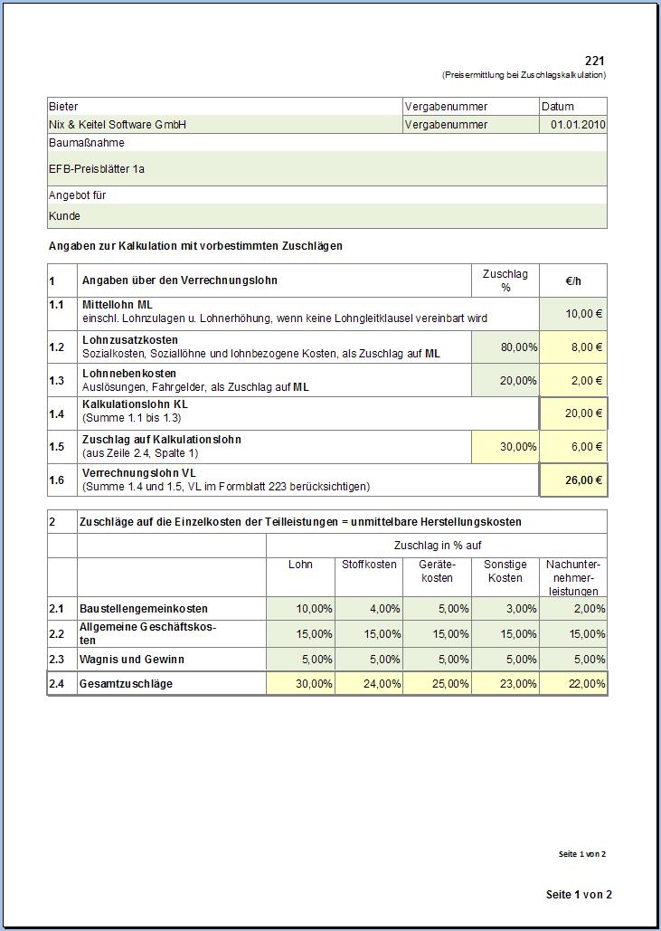 Excel Vorlage VHB Formular 221